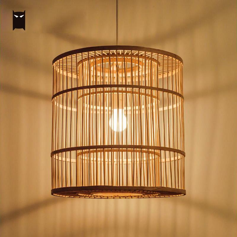 Bamboo Wicker Rattan Cage Shade Pendant Light Cord Fixture Chinese Asian Rustic Hanging Ceiling Lamp Luminaire for Kitchen E27 chinese style rustic lantern bamboo rattan knitted classical led pendant light bedroom e26 e27 7w bulb 96 240v decorative lamp