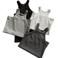 Summer Women Slim Halter Neck Off-shoulder Camisole Tops Female Bodycon Tanks Sleeveless Basic Solid T shirts Tees JM7387
