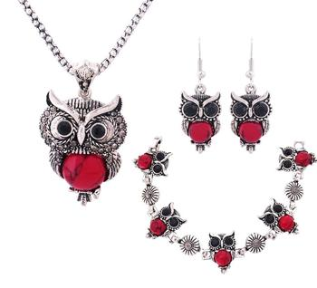 Women's Cute Owl Jewelry Set Jewelry Jewelry Sets Women Jewelry Metal Color: red