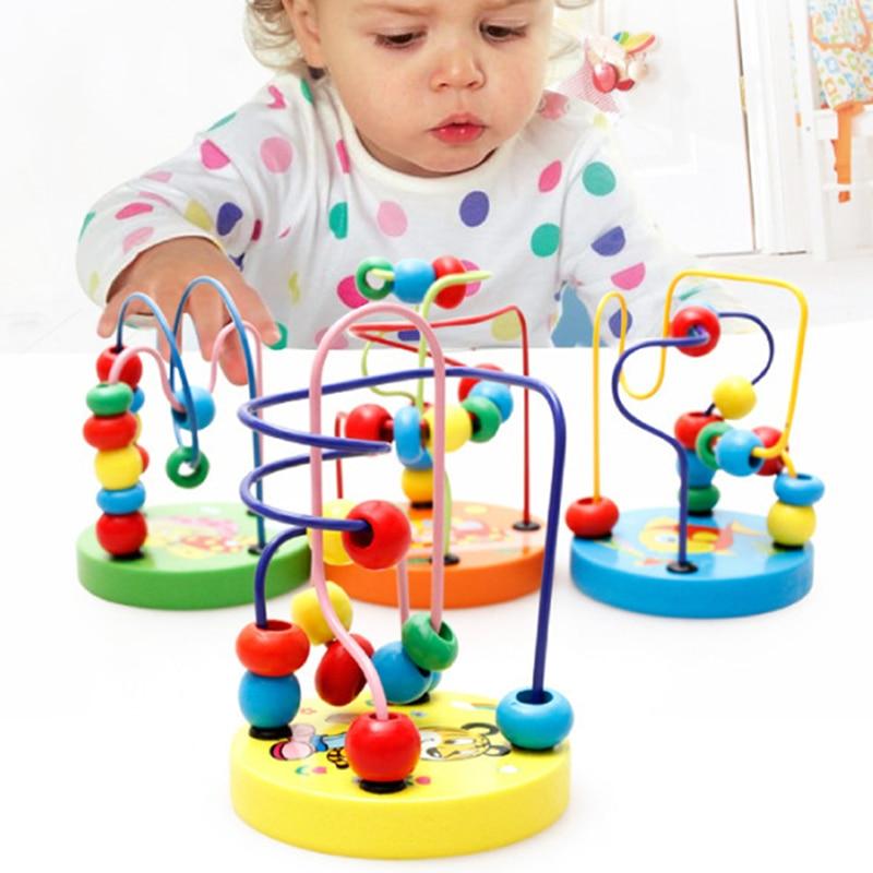 Fargerike Wooden Mini Around Perler Barn Barn Perler Dyreleker Toys - Bygg og teknikk leker - Bilde 2