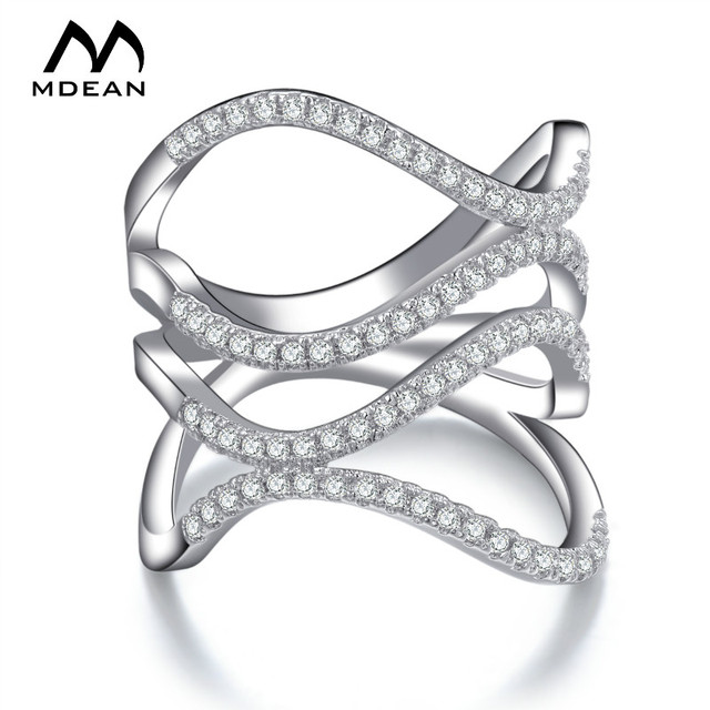 MDEAN White Gold Color AAA Zircon Wave Pattern Wedding Jewelry  Fashion Rings For Women Bague Bijoux  MSR143