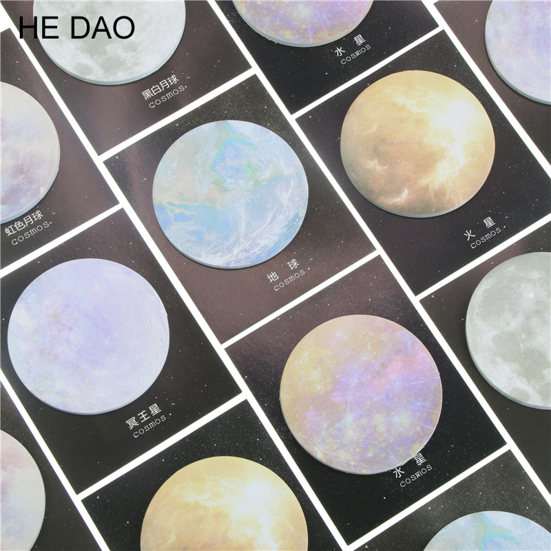 2 Pcs Cosmos Planet Round Memo Pad Paper Sticky Notes Notepad Post It Stationery Papeleria School Supplies