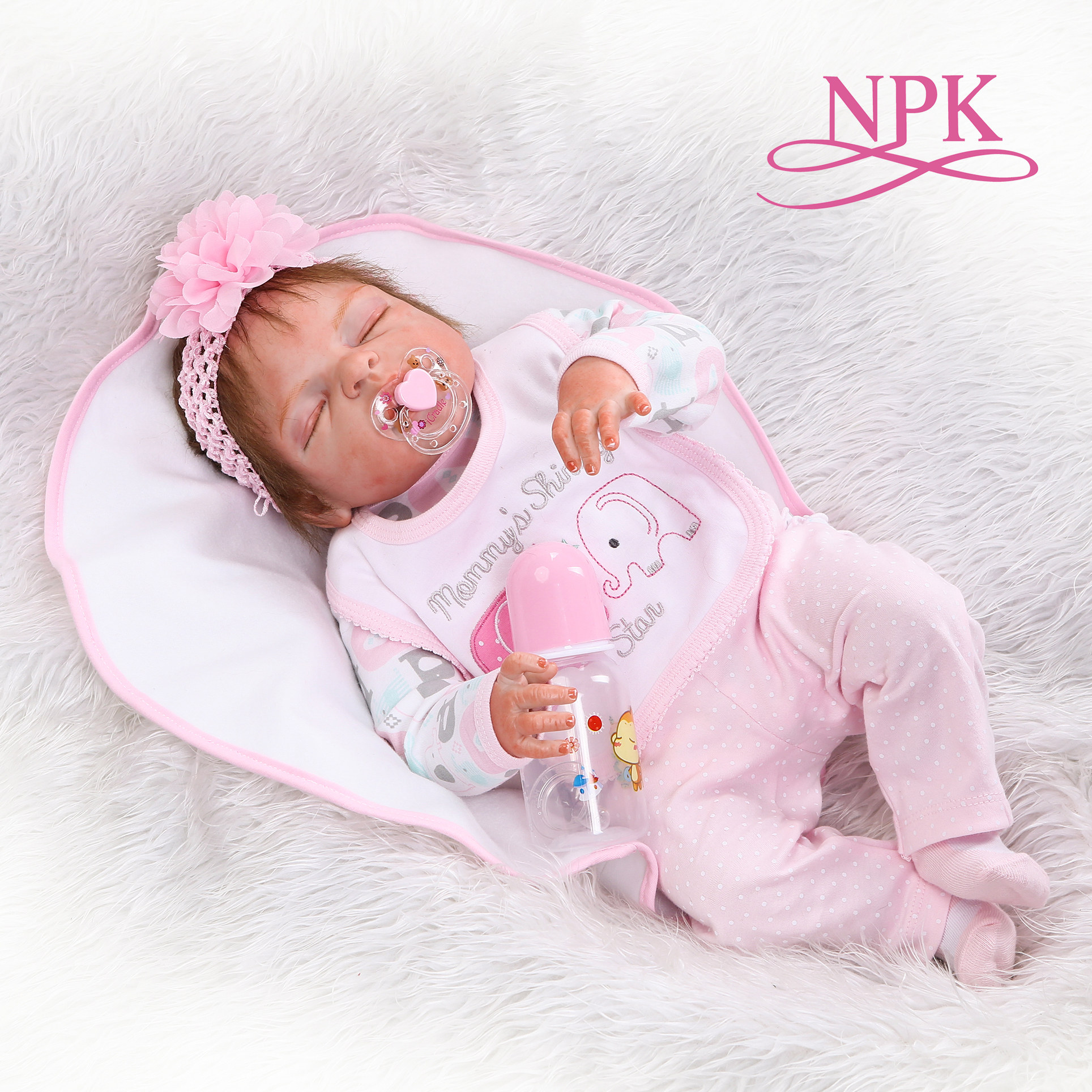 48CM bebe realistic reborn premie baby doll hand detailed painting pinky look full body silicone Anatomically Correct-in Dolls from Toys & Hobbies