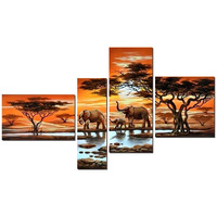 4pcs Full Square Round Drill 5D DIY Diamond Painting Elephant Family Multi Picture Combination 3D Embroidery
