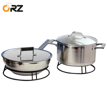 ORZ 2PCS Round Metal Pot Holder Creative Trivet Heat Resistant Pan Mats Removable Kitchen Cooking Tool Insulation Pad