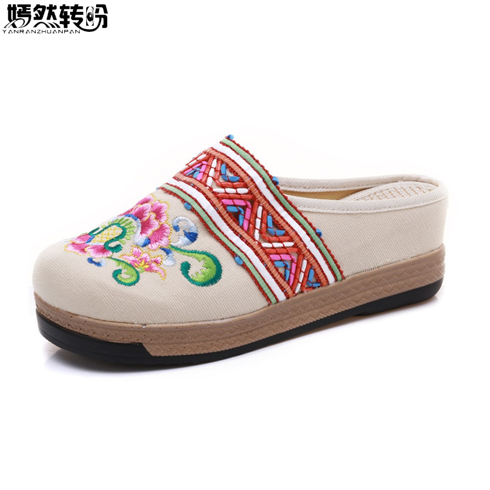 Online Shop Spring Summer Women Slippers India Floral Embroidered Bohemia Comfortable  Canvas Shoes Woman Ladies Cotton Slide Platform Shoes  3df99642912f