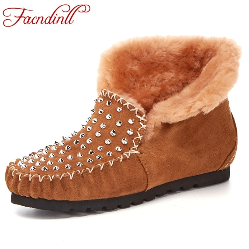 FACNDINLL winter boots studded suede leather fur women ankle boots rivets flat riding warm snow boots platform shoes woman black 2016 rhinestone sheepskin women snow boots with fur flat platform ankle winter boots ladies australia boots bottine femme botas