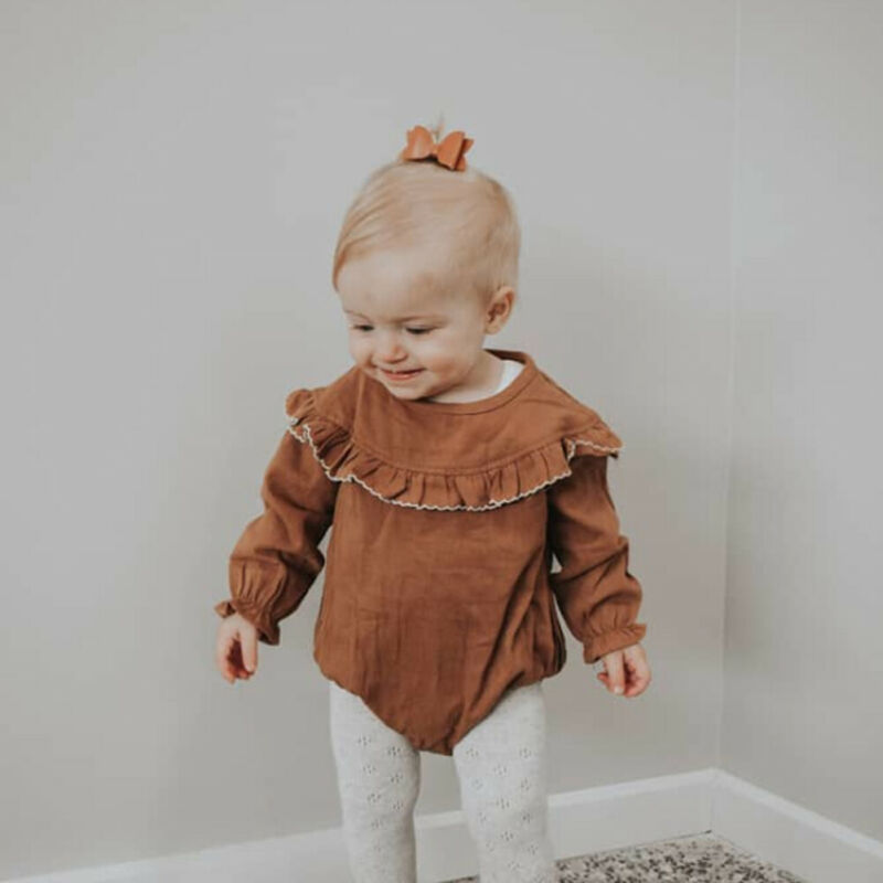 Newborn Kids Baby Girl Ruffles   Rompers   Long Sleeve Jumpsuit Autumn Spring Clothes
