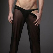 Sexy Men Transparent Loose Mesh Sheer Lounge Pants Loose-fit