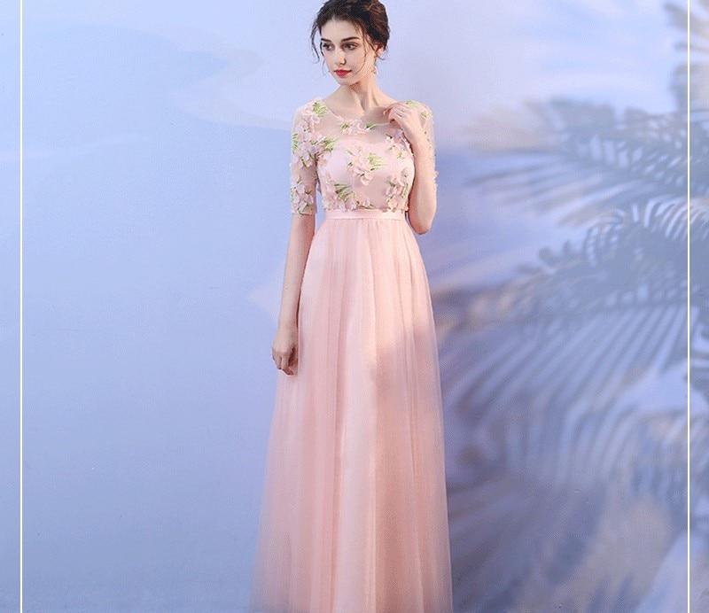 Vestido Azul Marino Prom Dress Pink  Bridesmaid Dresses Wedding Party  For Women  Sexy Dress Floral Long Dress Back Of Bandage
