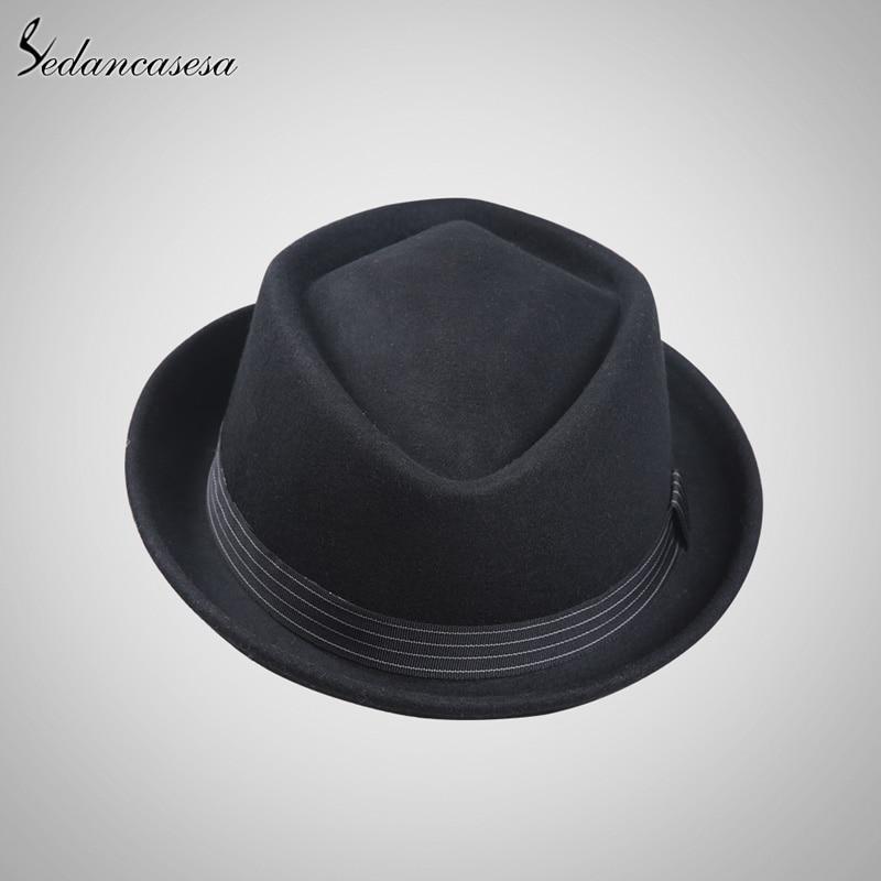 5a04b67ddae Sedancasesa Winter Autumn Fedora Hats Keep Warm Christmas Gifts Fashion Hats  For Men Australia Wool Felt Hat 57 59CM FM002052-in Fedoras from Men s  Clothing ...