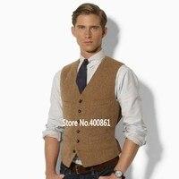 fashion Brown tweed Vests Wool Herringbone British style custom made Mens suit tailor slim fit Waistcoat W8