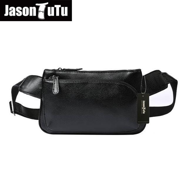 JASON TUTU Marcas los hombres de la cintura bolsa Casual hombre paquete pecho pequeño bolso de Cuero Genuino de Hombro Negro bolsa de los hombres bolsa de viaje B169