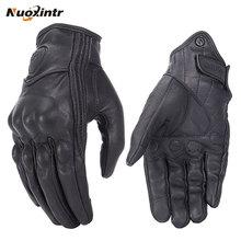 Мотоциклетные Перчатки в стиле ретро, кожаные перчатки с перфорированным сенсорным экраном для мужчин и женщин, водонепроницаемые мотоциклетные перчатки для мотокросса