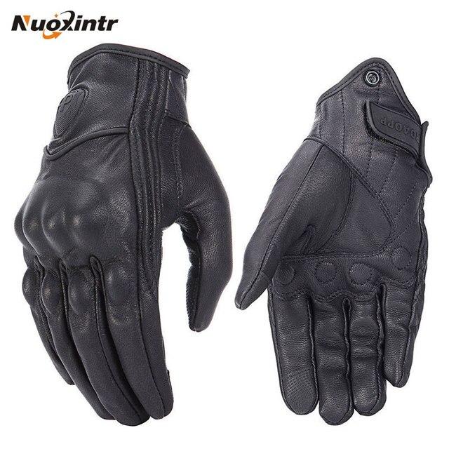 レトロ追求穿孔本物の革のオートバイの手袋レザータッチスクリーン男性女性防水手袋モトクロスグローブ