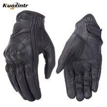 Guantes retro de piel para motocicleta unisex, prenda de cuero auténtico, resistente al agua, sensibles a pantalla táctil, utilizable en motocross