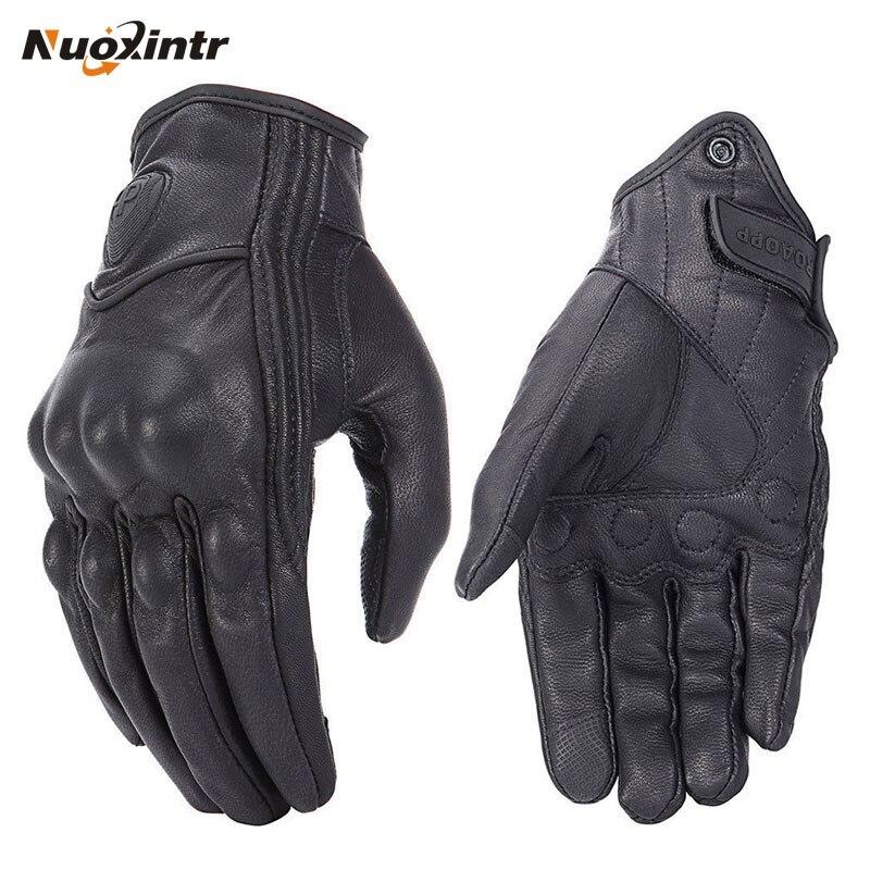 Rétro Moto gants poursuite perforé en cuir véritable écran tactile hommes femmes Moto imperméable gants Motocross gant