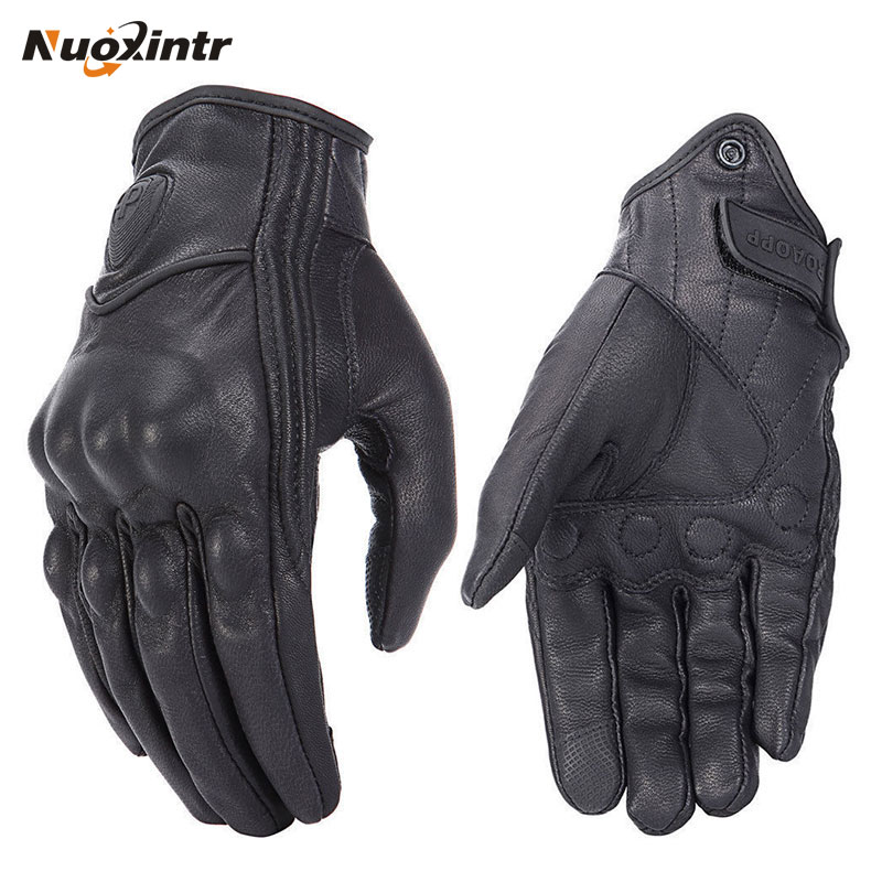 Retro Motorcycle Gloves Pursuit Perforated Real Leather Leather Touch Screen Men Women Moto Waterproof Gloves Motocross Glove-in Gloves from Automobiles & Motorcycles