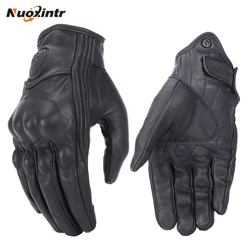 Gants de Moto rétro en cuir   Perforé, pour la poursuite, écran tactile, cuir véritable, hommes et femmes, gants imperméables de Moto