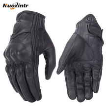 Купить с кэшбэком Retro Motorcycle Gloves Pursuit Perforated Real Leather Leather Touch Screen Men Women Moto Waterproof Gloves Motocross Glove