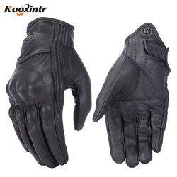 Retro Pursuit Perforated Real Leather Motorcycle Gloves Leather Touch Screen Men Women Moto Waterproof Gloves Motocross Glove