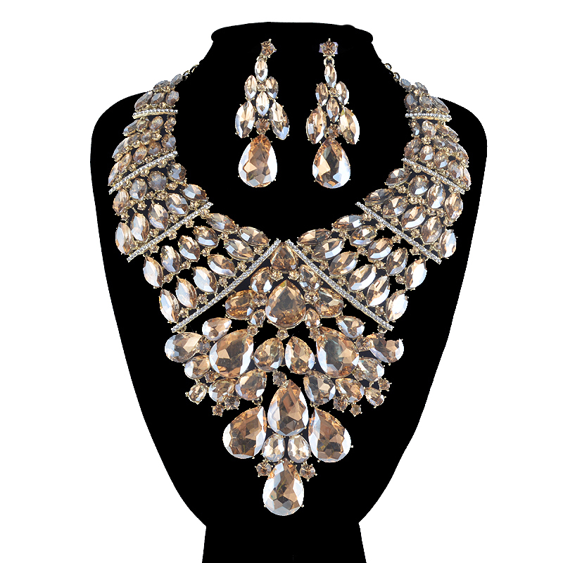 Statement African big Jewelry sets Mix color for women wedding party suit Dress Necklace and earrings Rhinestone accessories a suit of stylish faux sapphire rhinestone necklace bracelet earrings and ring for women