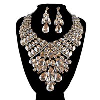 Statement African big Jewelry sets Mix color for women wedding party suit Dress Necklace and earrings Rhinestone accessories
