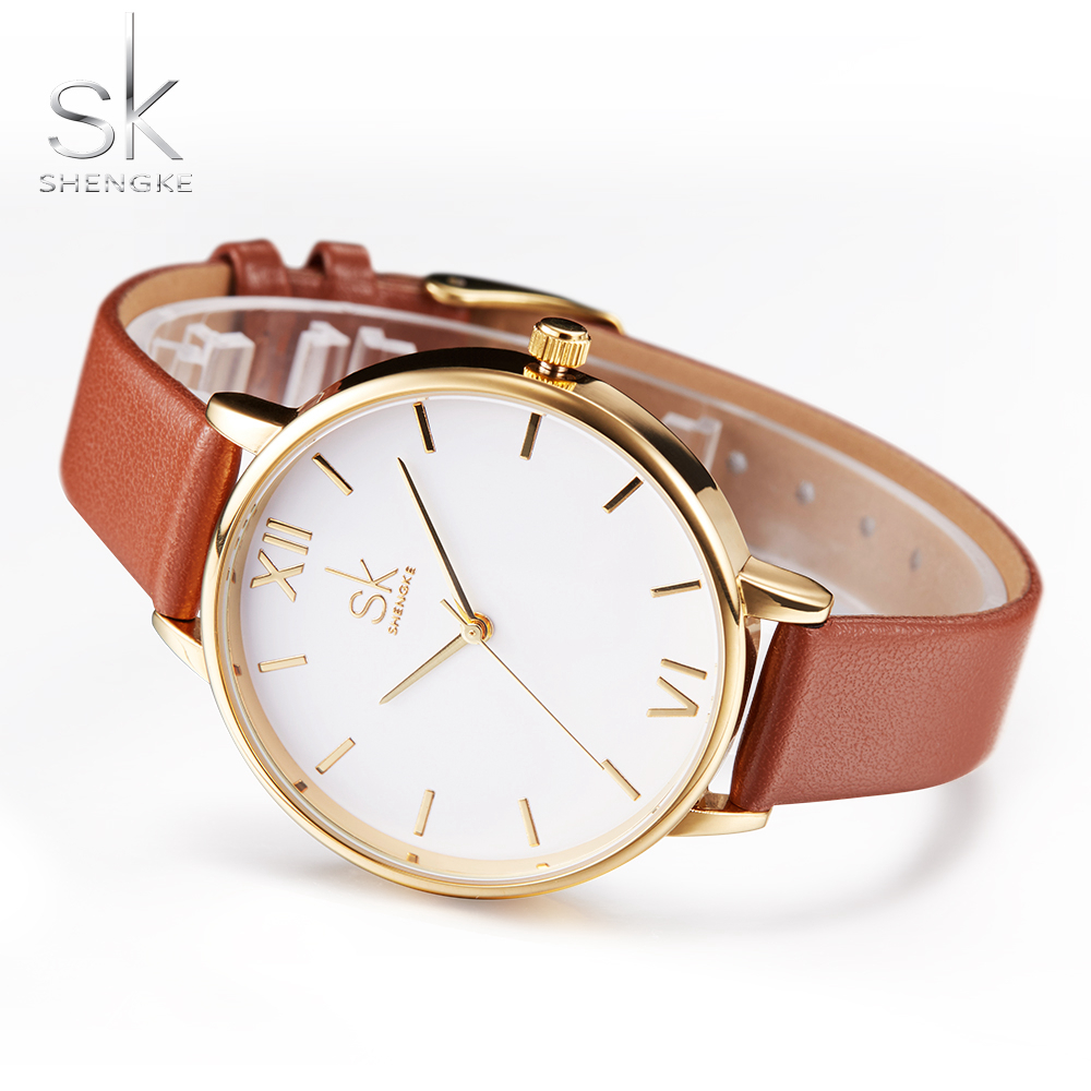 Shengke brand women watches simple leather wristwatch lady gold luxury dial watches mixmatch for Watches brands for lady