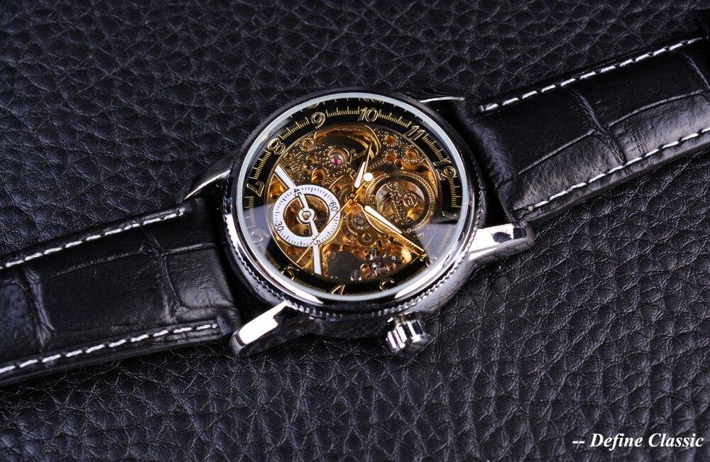 Real Pulseira de Couro Genuíno Relógio Automático