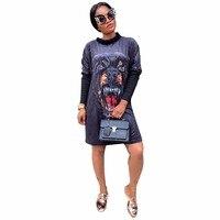 Fashion Casual Dress 2017 New Women Autumn Black Animal Digital Printing Long Sleeve O Neck Gold