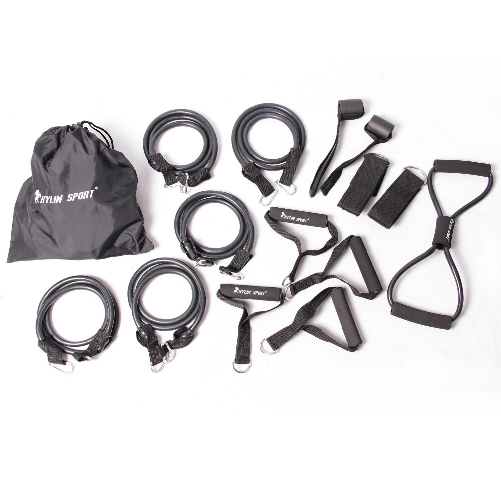 15pcs fitness exercise resistance bands home gym workout kit set yoga for wholesale and kylin sport