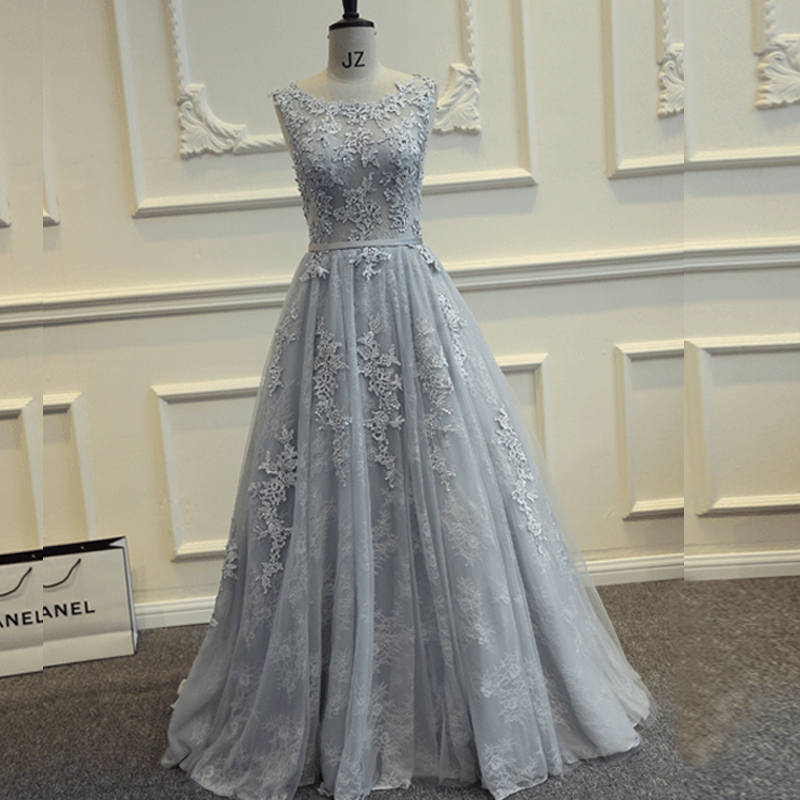 Real Photos Grey Long Prom Dresses 2016 Floor Length Tulle