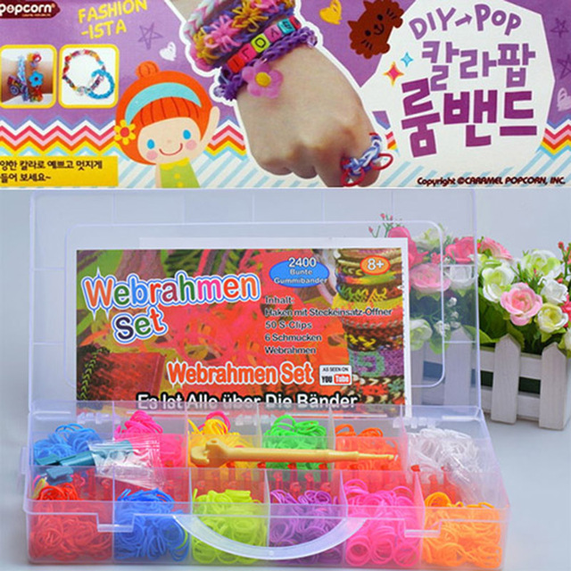 Colorful 2400pcs Silicone DIY Bracelet Crazy And Fun Kids Children Handmade Rubber Gum Plaiting Chain Band For Loom Bracelets