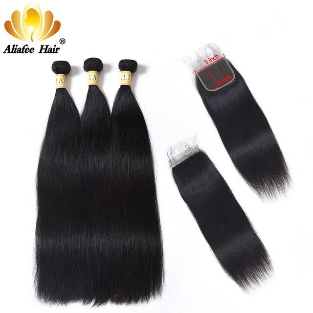 AliAfee Brazilian Bundles Weaving With 5X5 Closure Non-Remy Hair Natural Color Straight Hair 100% Human Hair 3/4+1 Bundles Deals