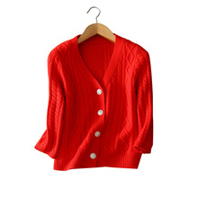 100 cashmere single breasted knitting coats V neck full sleeve solid color knitting clothings autumn winter