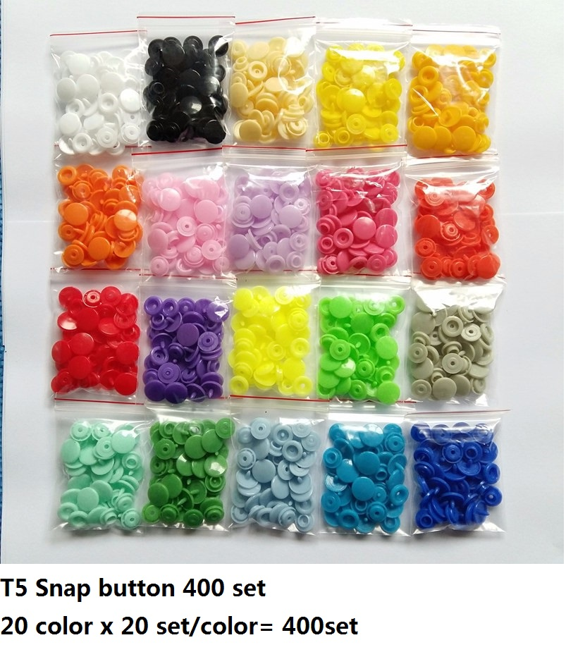 400 SETS Mix Color T5 Baby Resin Snap Buttons Plastic Snaps Clothing Accessories Press Stud Fasteners Poppers For Raincoat Wear