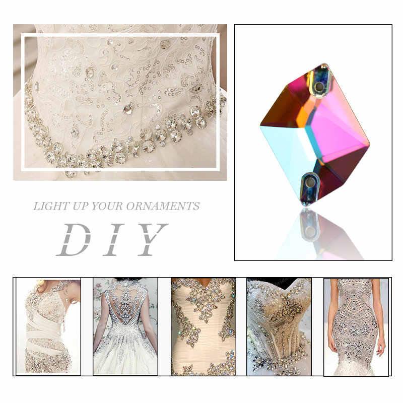 QIAO AAAAA เย็บบนหินคุณภาพสูงคริสตัลแก้วคริสตัล Rhinestone เย็บอุปกรณ์เสริม DIY เสื้อผ้าทำชุด