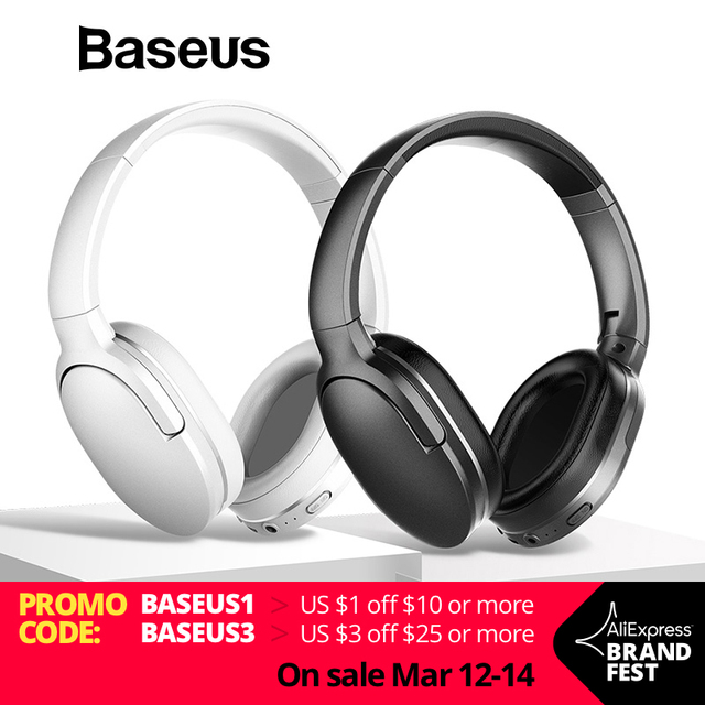 Baseus D02 Bluetooth Headphone, Foldable 25 Hours Music Play Wireless headphones Portable Bluetooth Earphone with Mic for Phone