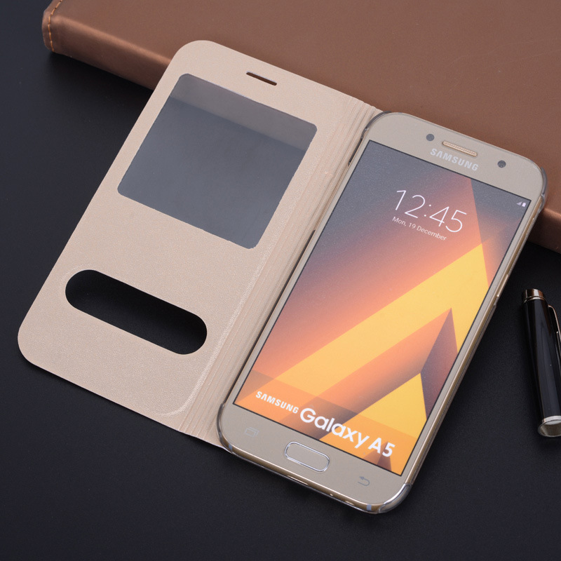 New Arrival Flip Case For Samsung A3 A5 A7 2017 Frosted Leather Case For Samsung Ultra Thin Back Cover With Window Phone Cases ...