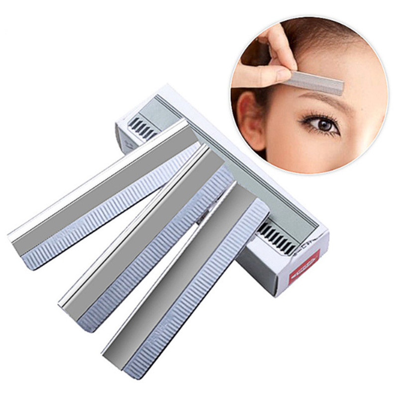 10Pcs/ Stainless Steel Eyebrow Blade Razor Sharp Eyebrow Trimmer Replace Blade Shaver Knife Face Hair Remover Razor Makeup Tools