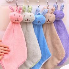 Новое Детское Коралловое бархатное полотенце для рук с мультяшным животным Кроликом, Кухонное подвешивающее банное полотенце, мочалки, носовой платок для детей