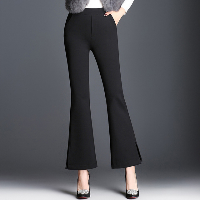 Black Flare Trousers Womanhigh Waisted Casual Slim Waist Flare Pants