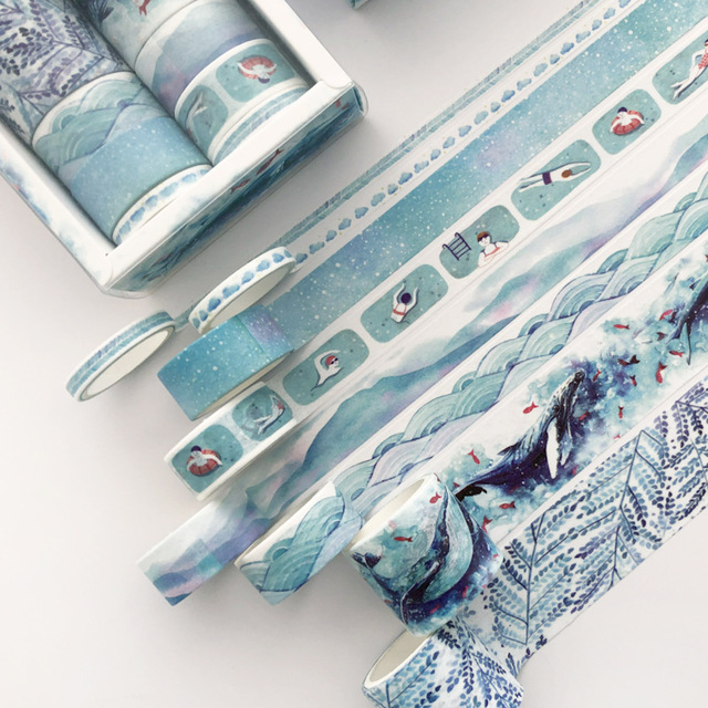 8 Pcs/pack Blue Cloud Fish Bullet Journal Washi Tape Set Kawaii Paper Adhesive Tape DIY Scrapbooking Sticker Label Masking