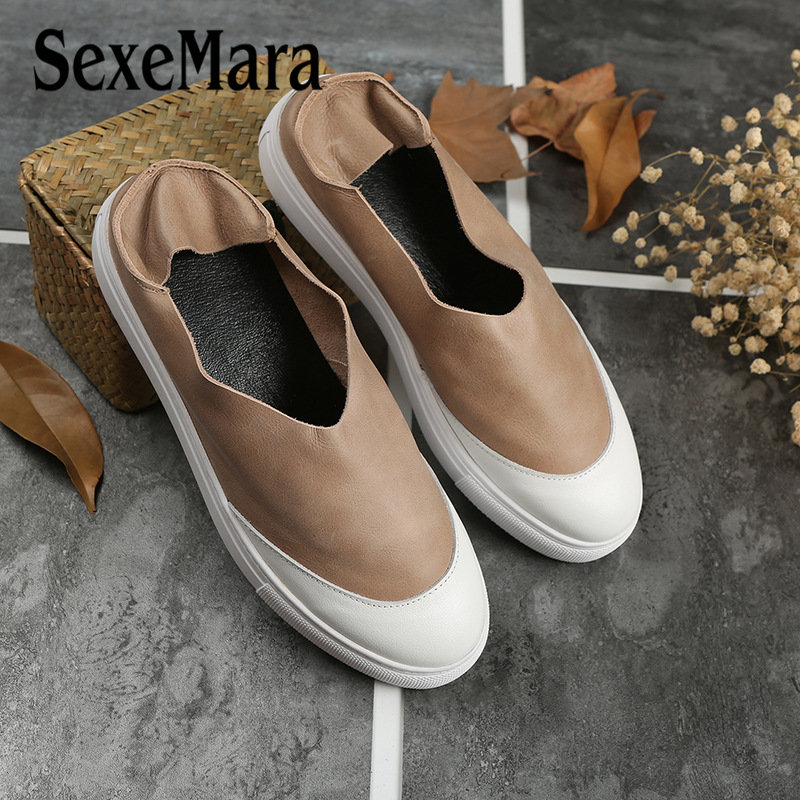 SexeMara Summer Autumn women oxford shoes Mix Color Design Round Toe Flat Women's Genuine leather Flats Shoes 5 Colors trendy women s flat shoes with round toe and tassels design