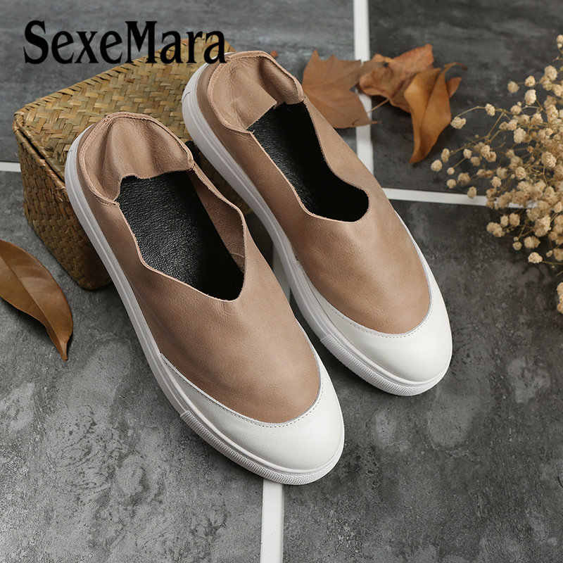 d9061861f7563 Detail Feedback Questions about SexeMara Summer Autumn women oxford shoes  Mix Color Design Round Toe Flat Women's Genuine leather Flats Shoes 5  Colors on ...