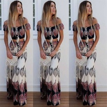 Summer Two Piece Dress Women Sexy Slash Neck  Boho Crop Tops and Split Long