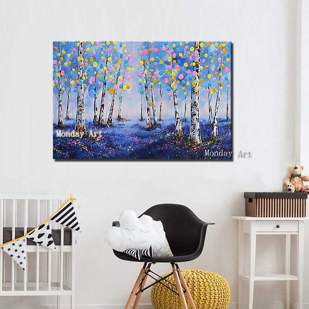 Hand-Painted-Abstract-Palette-Knife-Landscape-Forest-Oil-Painting-Wall-Canvas-Picture-Living-Room-Home-Wall (2)