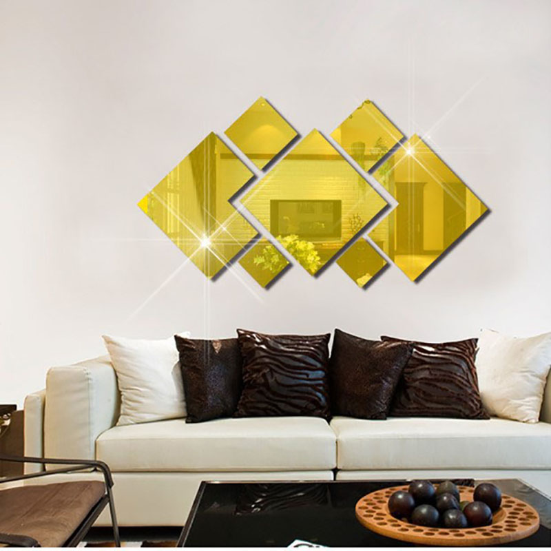 DIY Square Mirror Wall Sticker Acrylic 2 Styles Living Room Bedroom ...