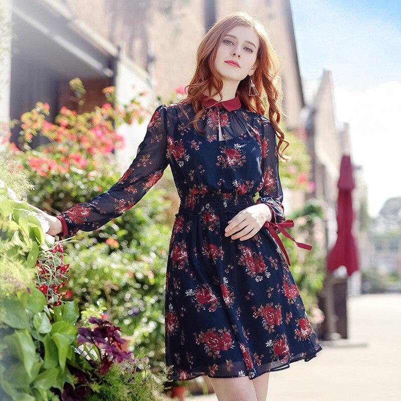 Automne femmes Vintage robe manches longues élégant imprimé floral Robe turn-down col En Mousseline de Soie robe Haute qualité datant essentials