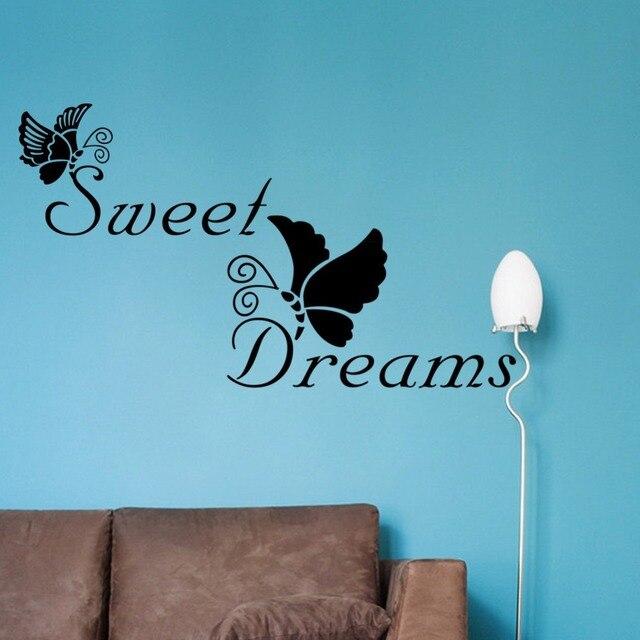 Süße Träume Große Quote Wandaufkleber Schmetterling Aufkleber Wandaufkleber  Quotes Schlafzimmer Dekorative Adesivo De Parede Home Decoration